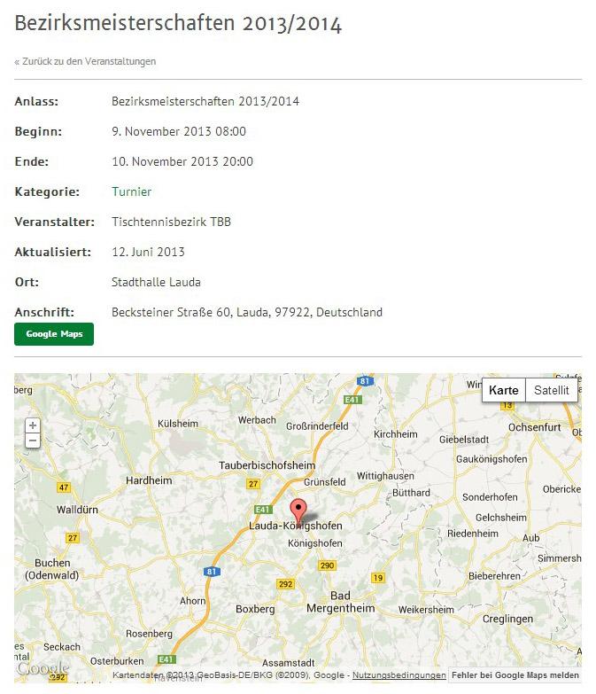 Bild: Beispiel: Termin mit Ortsangabe und Karte von Google Maps.