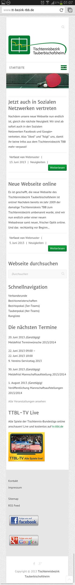 Bild: So sieht unsere neue Webseite auf einem Smartphone aus.