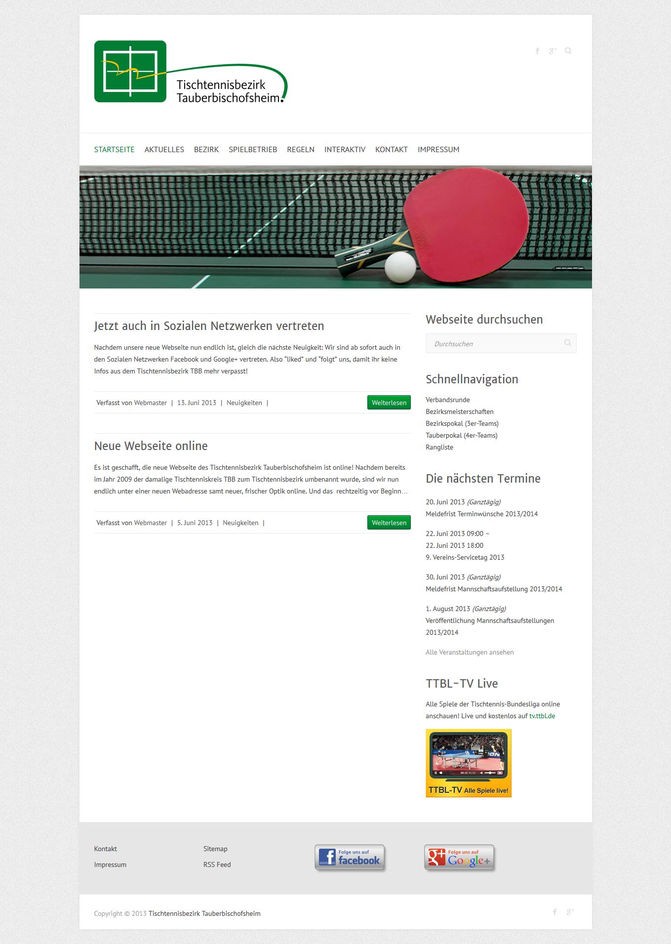 Bild: Standard-Ansicht der neuen Webseite in einem Desktop-Browser.