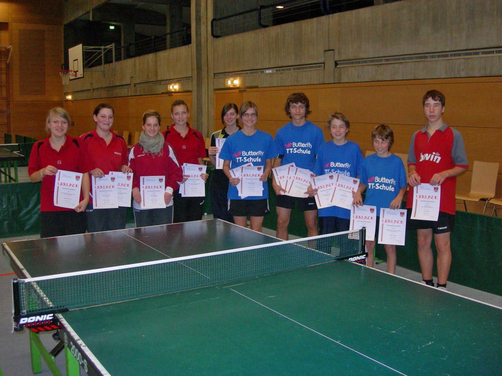 Die Sieger der Wettbewerbe Jungen Einzel und Doppel sowie Mädchen Einzel und Doppel.