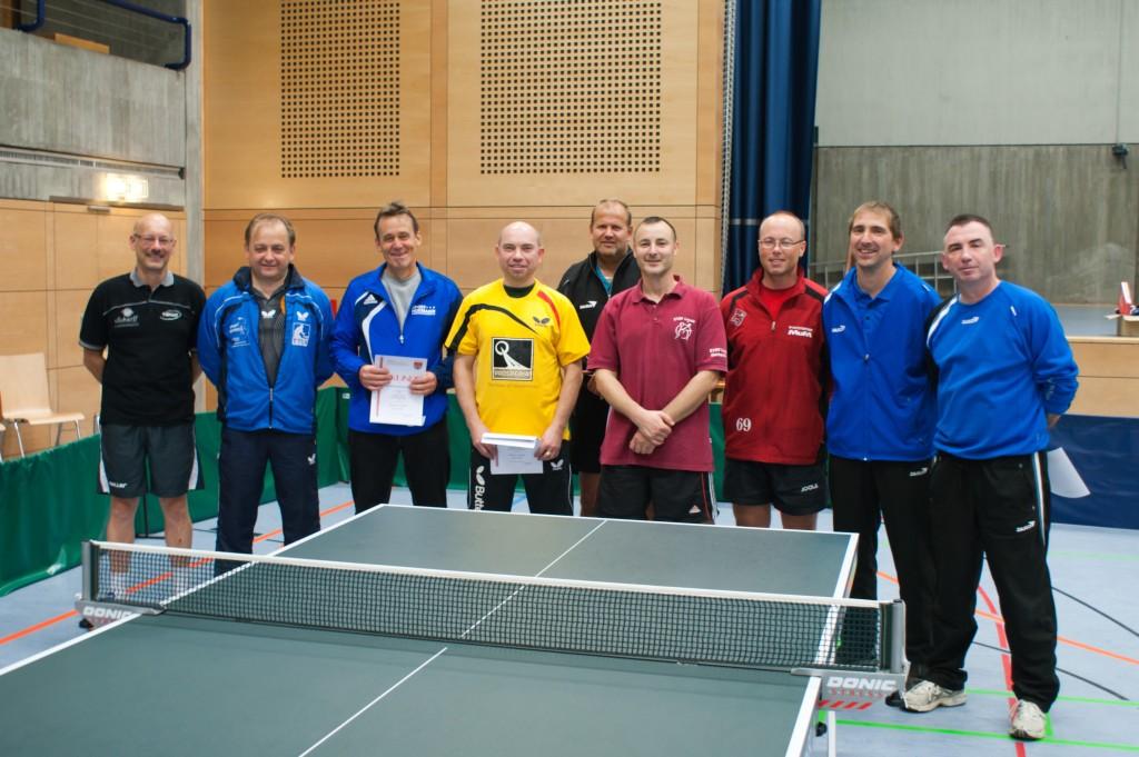 Die Sieger der Wettbewerbe Senioren 1 Einzel und Doppel sowie Senioren 2 Einzel und Doppel. Foto: Christoph Muhr