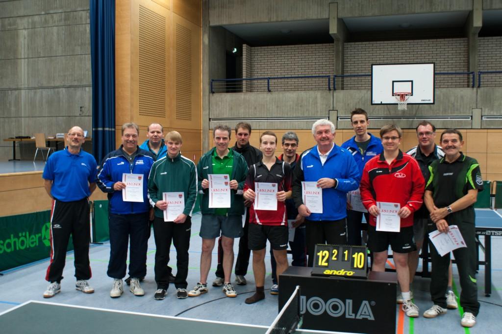 Die Sieger der Wettbewerbe Herren A Einzel und Doppel sowie Herren C Einzel und Doppel. Foto: Christoph Muhr