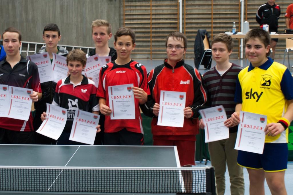 Die Sieger des Wettbewerbs Jungen Einzel und Doppel. Foto: Christoph Muhr