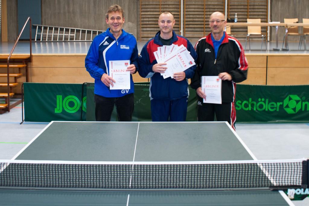 Die Sieger der Wettbewerbe Senioren 1 Einzel und Senioren 2 Einzel. Foto: Christoph Muhr