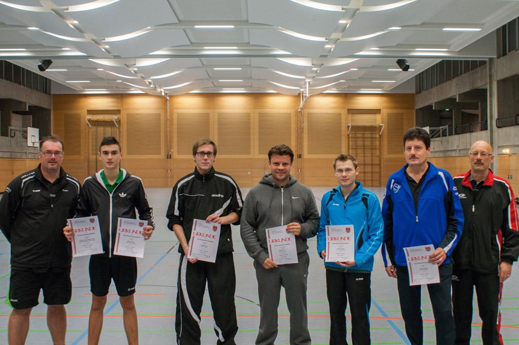 Die Sieger der Wettbewerbe Herren A Einzel, Herren B Einzel und Herren C Einzel. Foto: Christoph Muhr