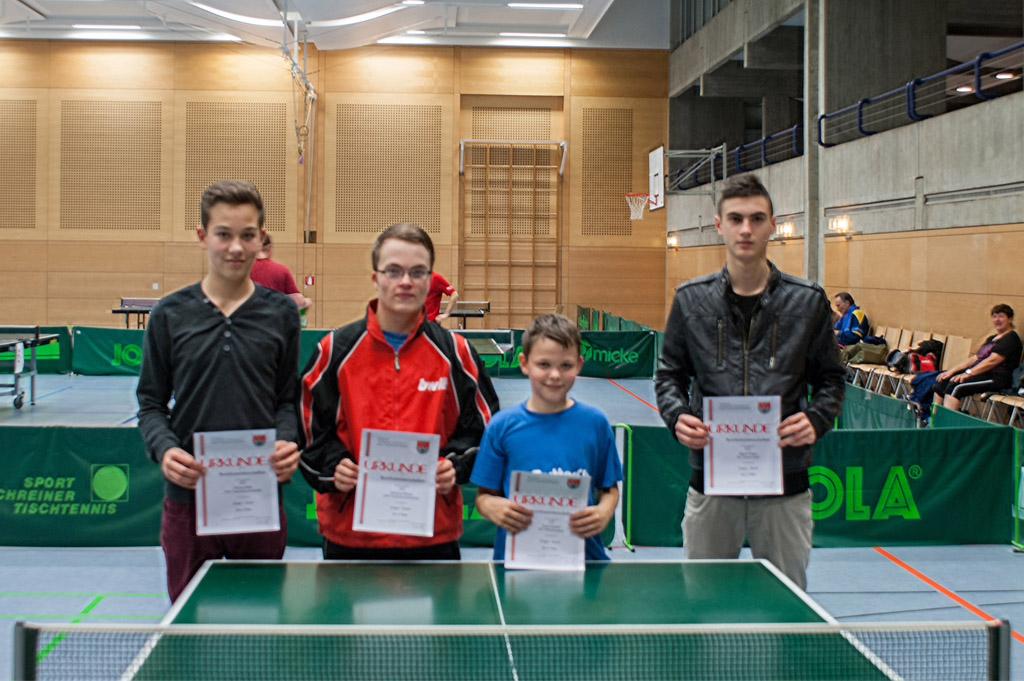 Die Sieger im Wettbewerb Jungen Einzel. Foto: Christoph Muhr