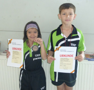 Lucia und Benedict Behringer holten bei den Badischen Meisterschaften jeweils Bronze im U11-Doppel der Schülerinnen bzw. Schüler.