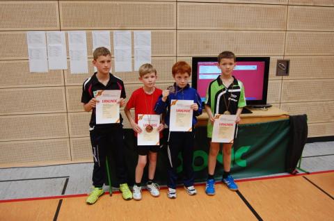 Die Sieger im Wettbewerb Schüler U11 mit dem Erstplazierten Benedict Behringer (rechts, FC Dörlesberg). Foto: Christian Behringer