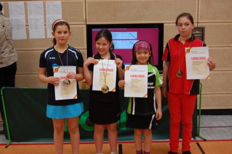 Die Siegerinnen im Wettbewerb Schülerinnen U11 mit der Viertplazierten Lucia Behringer (2. von rechts, FC Dörlesberg). Foto: Christian Behringer