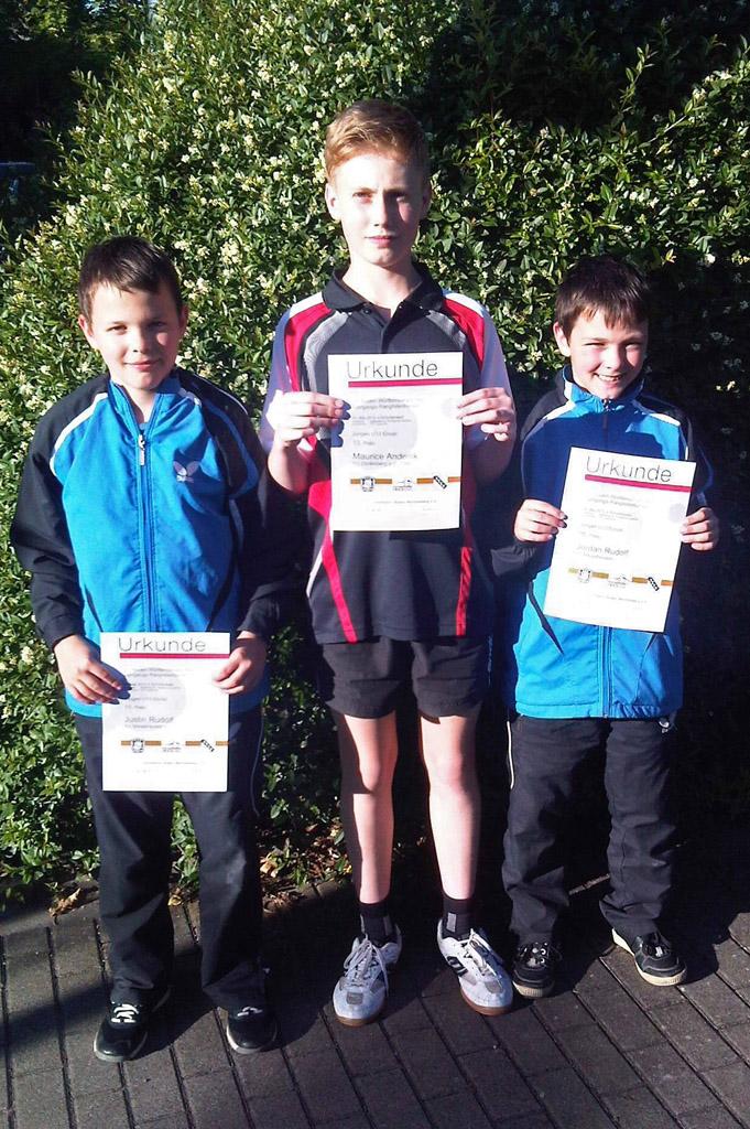Justin Rudolf, Maurice Anderlik und Jordan Rudolf (v. l. n. r.) starteten beim BaWü-Ranglistenturnier der Jungen U13.