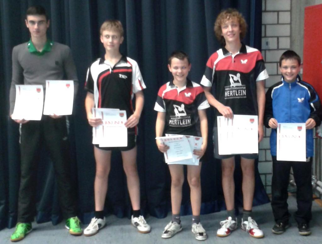 Die Sieger des Wettbewerbs Jungen Einzel. Foto: Bernhard Gerold