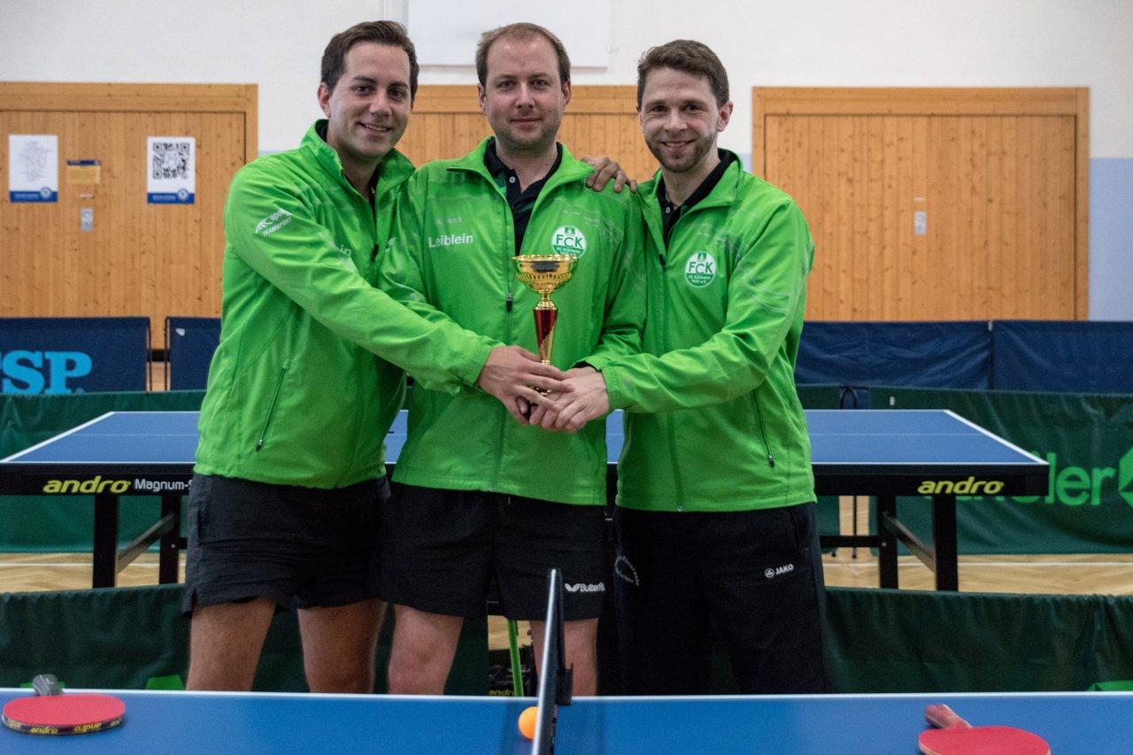 Die Sieger im Herren B-Pokal des FC Külsheim I: Christian Leiblein, Marco Henninger und Ulrich Soden (von links nach rechts).