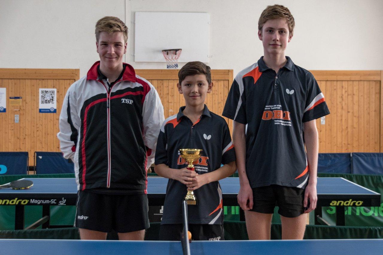 Die Sieger im Jungen Pokal der SG Niklashausen/Dörlesberg I: Levin Betzel, Benedict Behringer und Maurice Anderlik (von links nach rechts).