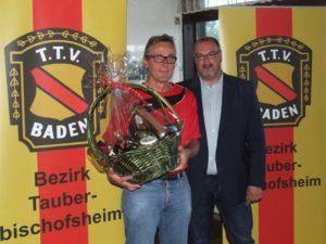Bezirksvorsitzender Thomas Henninger (rechts) bedankte sich mit einem Präsentkorb beim scheidenden langjährige Jugendwart Günter Veith.