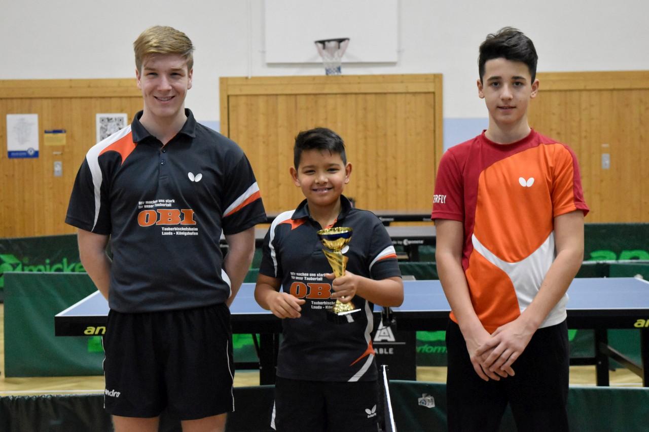 Die Sieger im Jugend Pokal der Niklashausen/Dörlesberg: Levin Betzel, Benjamin Ries und Ben Vogel (von links nach rechts).