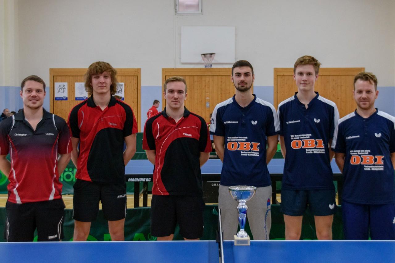 Die Endspielteilnehmer im Bezirkspokal 2018/2019 der Herren B: TSV Tauberbischofsheim und das siegreiche Team des SV Niklashausen II (von links).