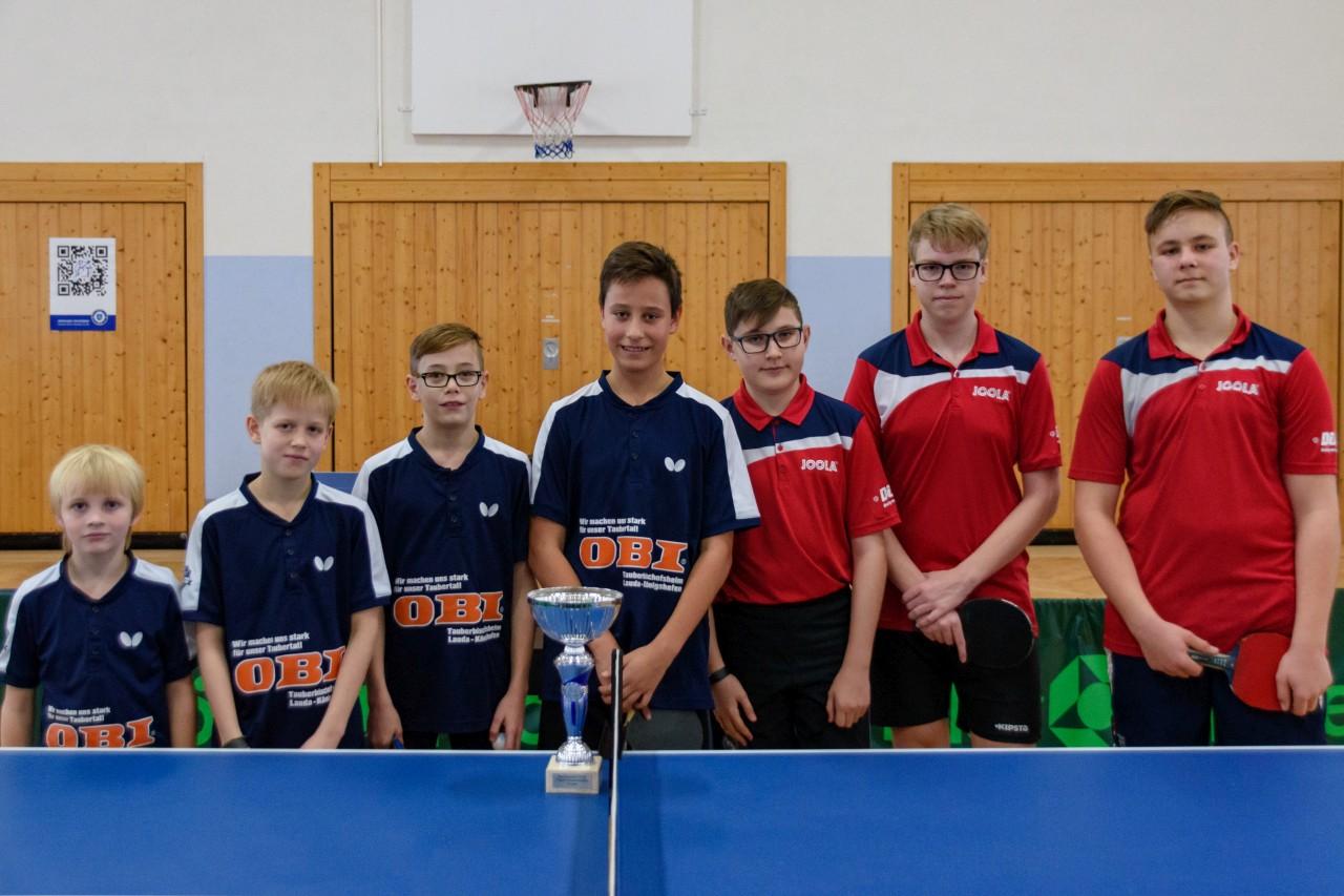 Die Endspielteilnehmer im Bezirkspokal 2018/2019 der Jungen: das siegreiche Team der SG Niklashausen/Külsheim und SG Lauda/Oberlauda (von links).